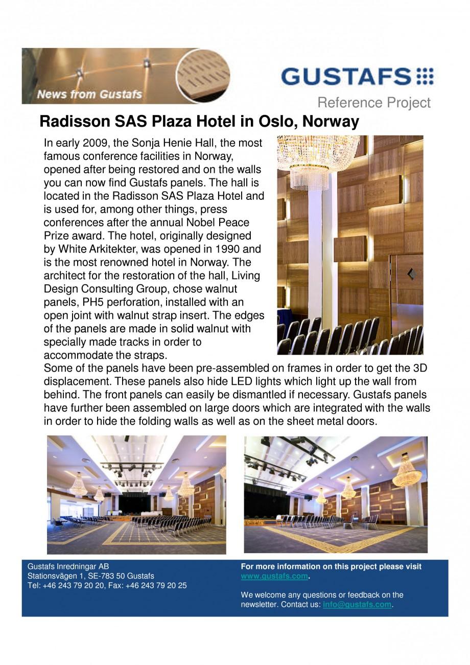 Pagina 1 - Panouri fonoabsorbante - Radisson SAS Plaza Hotel in Oslo, Norway GUSTAFS Lucrari,...