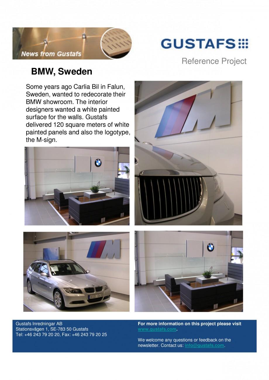 Pagina 1 - Panouri fonoabsorbante - Showroom BMW, Sweden GUSTAFS Lucrari, proiecte Engleza Reference...