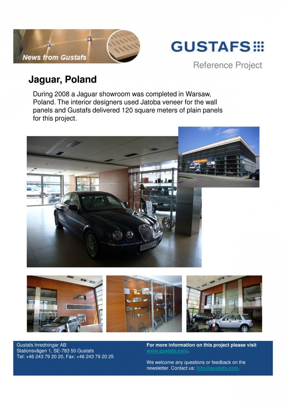 Pagina 1 - Panouri fonoabsorbante - Showroom Jaguar, Poland GUSTAFS Lucrari, proiecte Engleza...