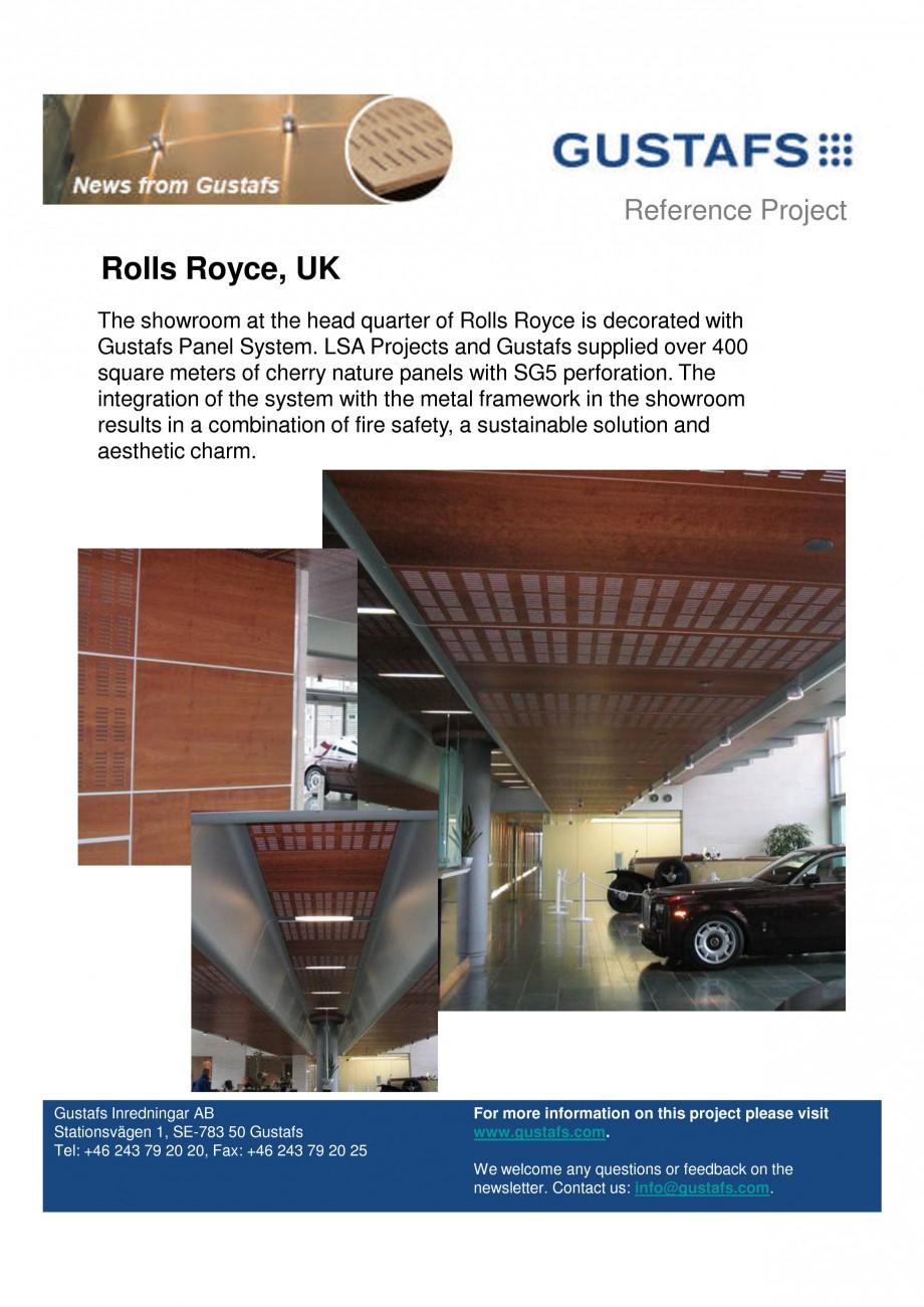 Pagina 1 - Panouri fonoabsorbante - Showroom Rolls Royce, UK GUSTAFS Lucrari, proiecte Engleza...