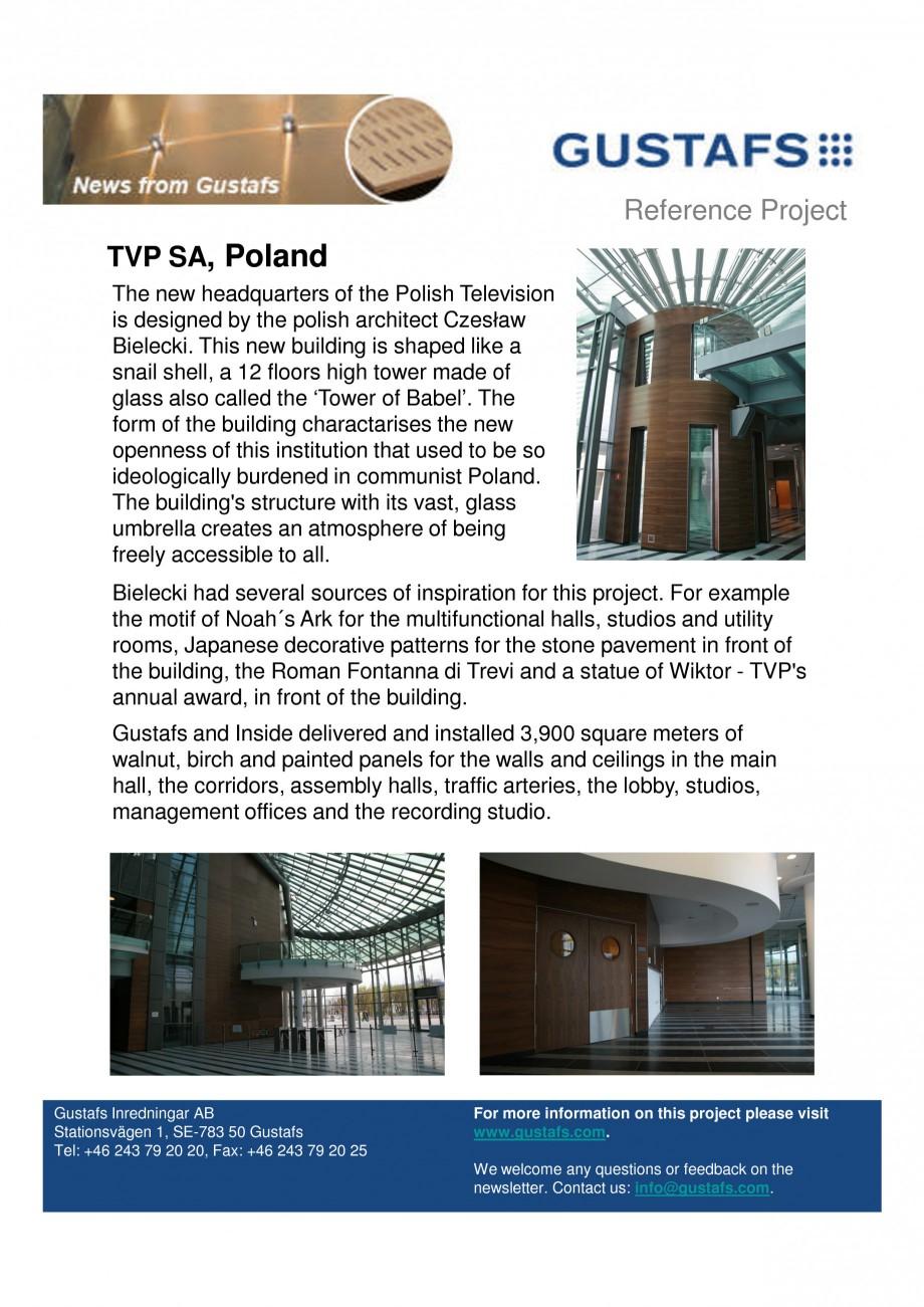 Pagina 1 - Panouri fonoabsorbante - TVP SA, Poland GUSTAFS Lucrari, proiecte Engleza Reference...