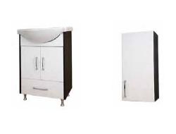 Mobilier de baie Mobilierul de baie a fost create din necesitatea de a  depozita obiectele de folosinta zilnica necesare in baie. Pe langa  aspectul practic, mobilierul detine in prezent un rol estetic deosebit  in amenajarea camerei de baie, culorile, materialele folosite si formele  mobilierului fiind printre elementele esentiale de amenajare. Zoom ofera o serie de piese  individuale (mobilier) care completeaza spatiul baii, in stilul cel mai  actual. Mobilier pentru lavoar de 60 cm, wenge. Dulap suspendat, 1 usa, pe stanga/ dreapta.