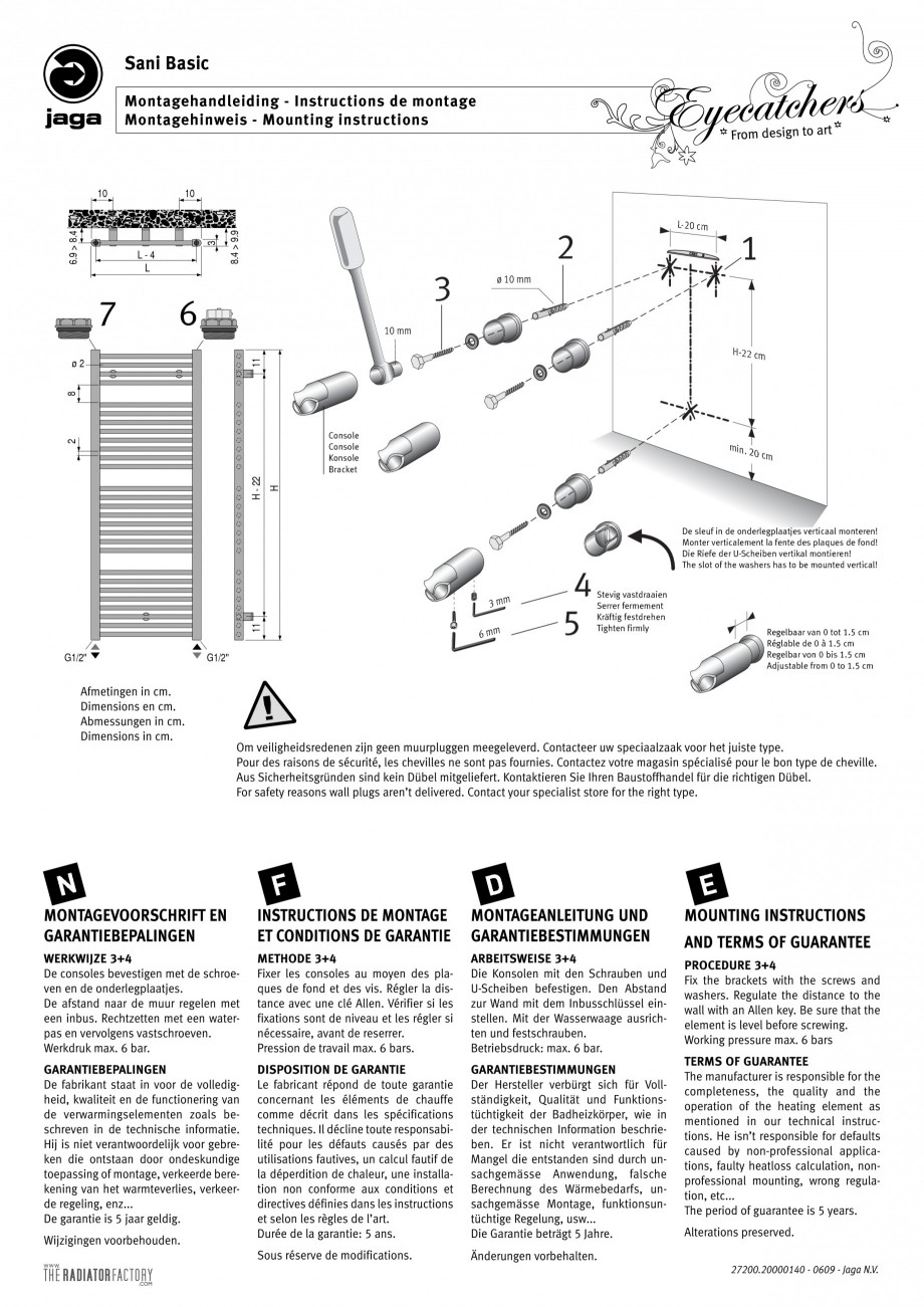 Pagina 1 - Calorifer de baie port prosop vertical JAGA SANI Basic Instructiuni montaj, utilizare...