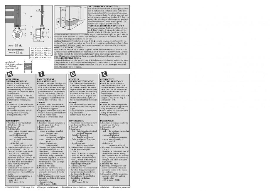 Pagina 4 - Calorifer de baie port prosop vertical - Electric JAGA SANI Ronda Instructiuni montaj,...