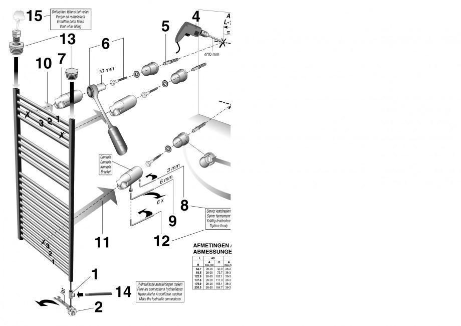 Pagina 2 - Calorifer de baie port prosop vertical - Mixt JAGA SANI Ronda Instructiuni montaj,...