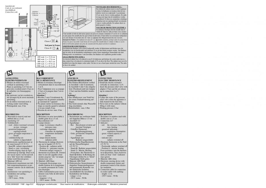 Pagina 4 - Calorifer de baie port prosop vertical - Mixt JAGA SANI Ronda Instructiuni montaj,...