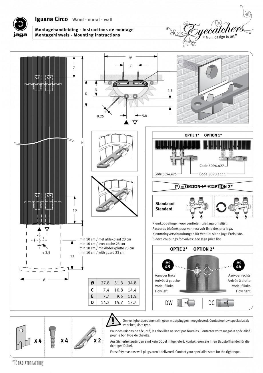 Pagina 1 - Calorifer vertical cu elementi triunghiulari din otel JAGA IGUANA Circo Wall Instructiuni...