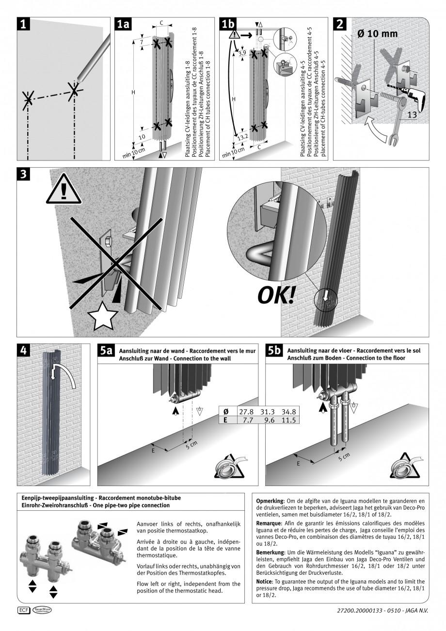 Pagina 2 - Calorifer vertical cu elementi triunghiulari din otel JAGA IGUANA Circo Wall Instructiuni...