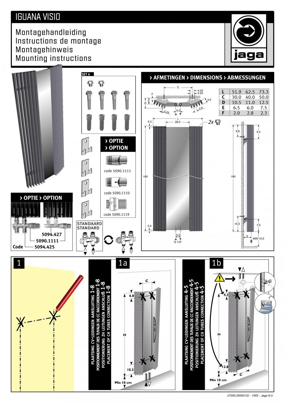 Pagina 1 - Calorifer vertical cu elementi triunghiulari din otel si oglinda JAGA IGUANA Visio / Plus...