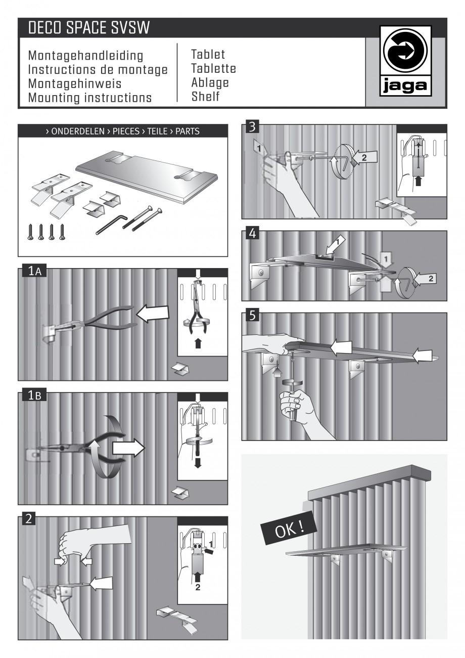 Pagina 1 - Montaj etajera JAGA DECO Space Vertical Instructiuni montaj, utilizare Engleza, Germana, ...