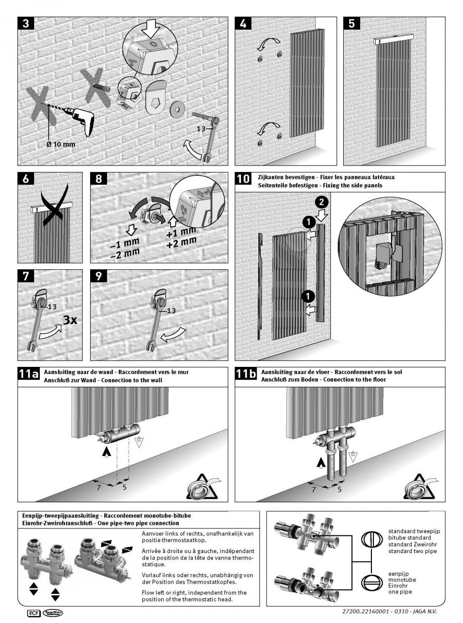 Pagina 2 - Calorifer vertical cu elementi drepti JAGA TETRA Instructiuni montaj, utilizare Engleza, ...