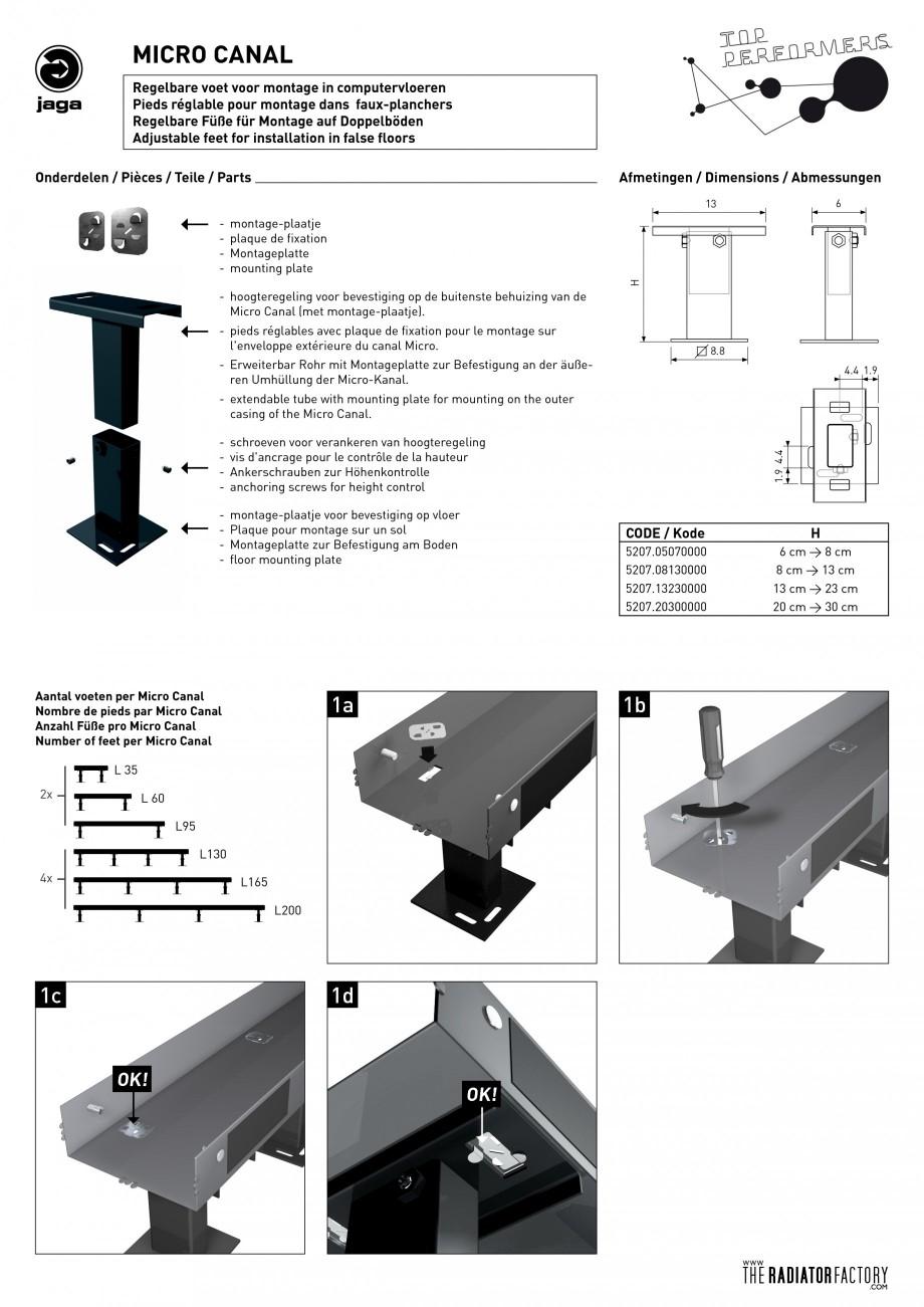 Pagina 1 - Montaj picioruse pentru ventiloconvector JAGA MICRO CANAL Instructiuni montaj, utilizare ...