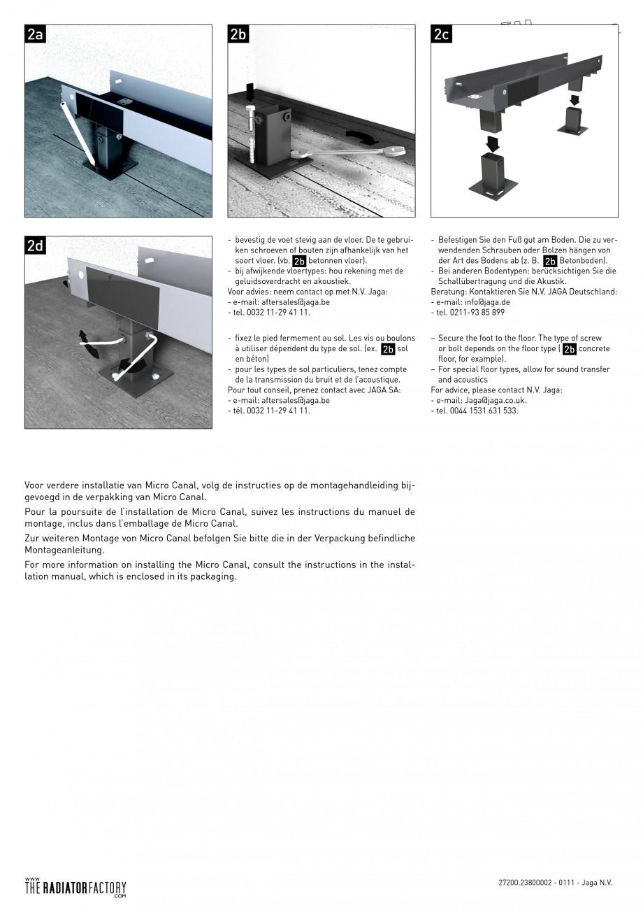 Pagina 2 - Montaj picioruse pentru ventiloconvector JAGA MICRO CANAL Instructiuni montaj, utilizare ...