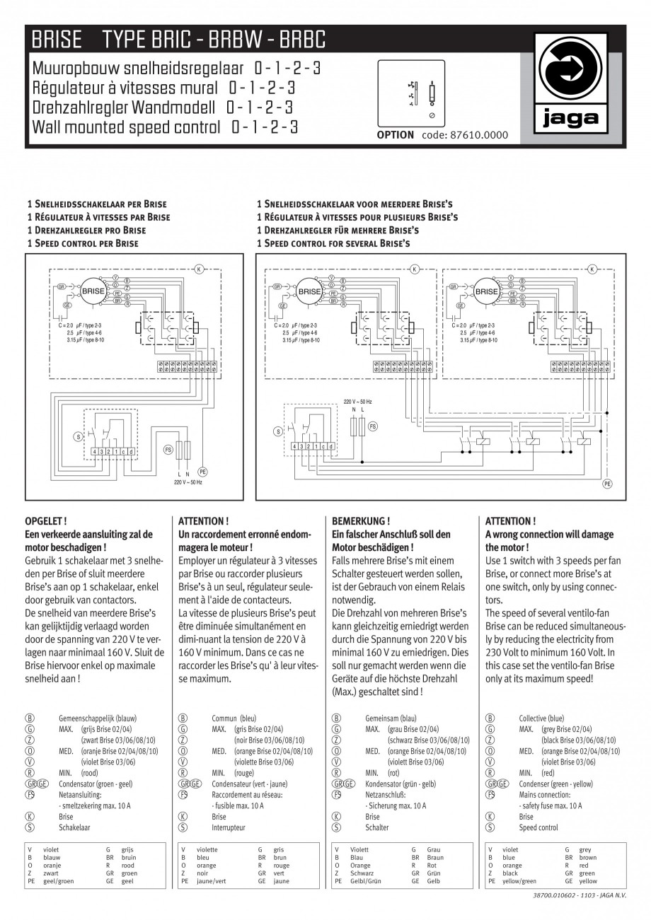 Pagina 1 - Schema electrica - Ventiloconvectoare - BRIC - BRBW - BRBC JAGA Instructiuni montaj,...