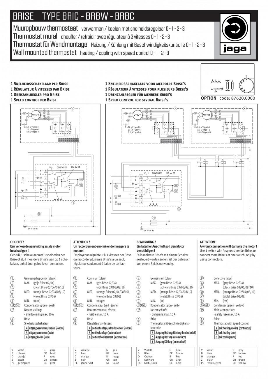 Pagina 2 - Schema electrica - Ventiloconvectoare - BRIC - BRBW - BRBC JAGA Instructiuni montaj,...