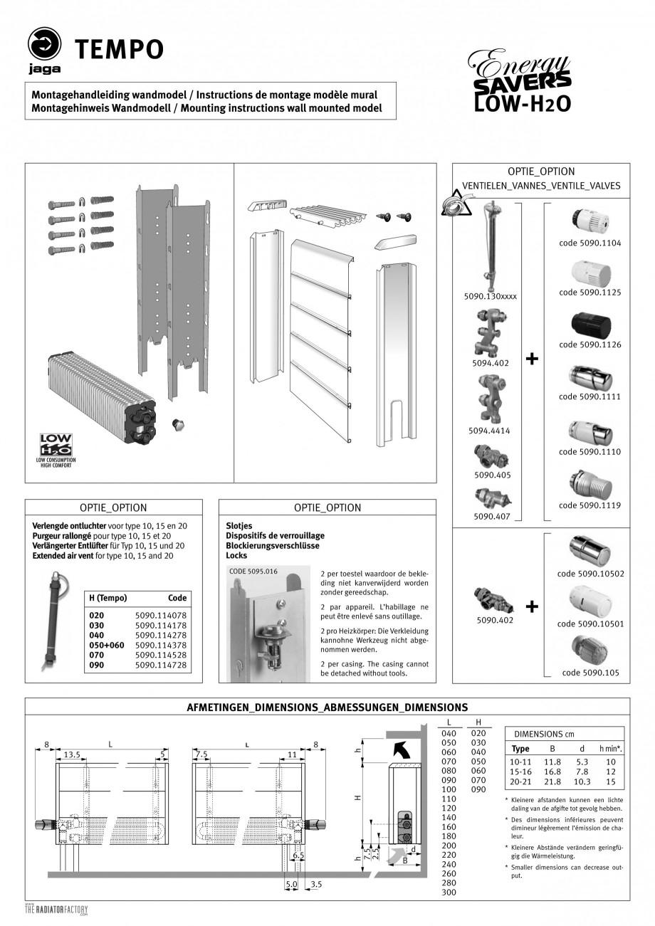 Pagina 1 - Calorifere orizontale cu panou de otel JAGA TEMPO Instructiuni montaj, utilizare Engleza,...