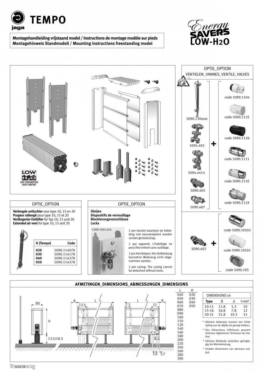 Pagina 3 - Calorifere orizontale cu panou de otel JAGA TEMPO Instructiuni montaj, utilizare Engleza,...