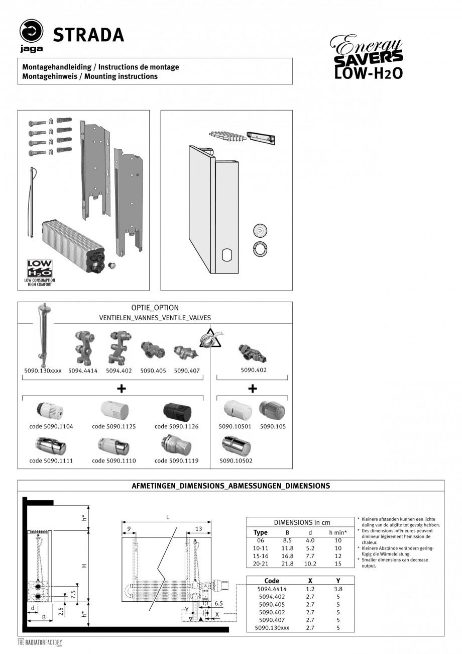 Pagina 1 - Calorifere orizontale cu panou de otel si fata plana JAGA STRADA Instructiuni montaj,...