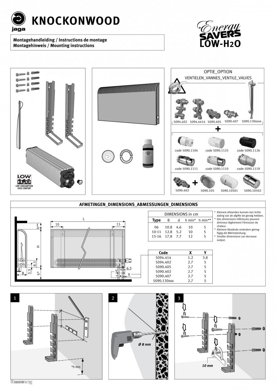 Pagina 1 - Radiatoare cu panou frontal de lemn JAGA KNOCKONWOOD Instructiuni montaj, utilizare...