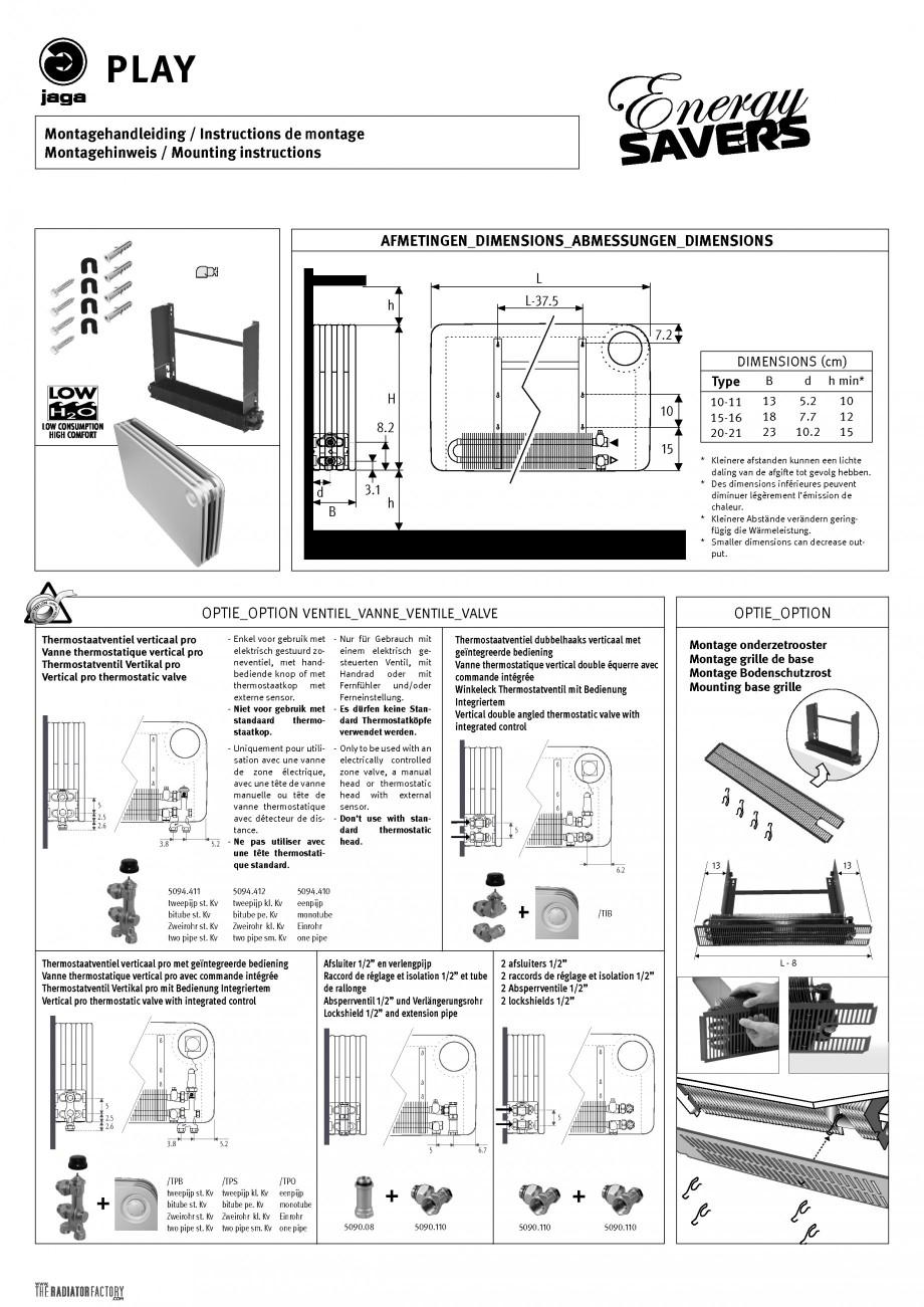 Pagina 1 - Radiatoare de joasa temperatura cu panou de lemn JAGA PLAY Instructiuni montaj, utilizare...