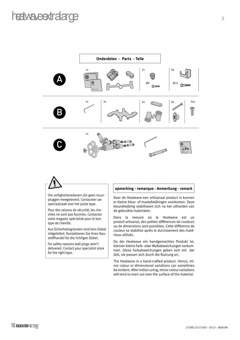 Pagina 2 - Radiatoare modulare - Extralarge JAGA HEATWAVE Instructiuni montaj, utilizare Engleza,...