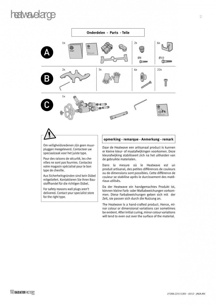 Pagina 1 - Radiatoare modulare - Large JAGA HEATWAVE Instructiuni montaj, utilizare Engleza,...