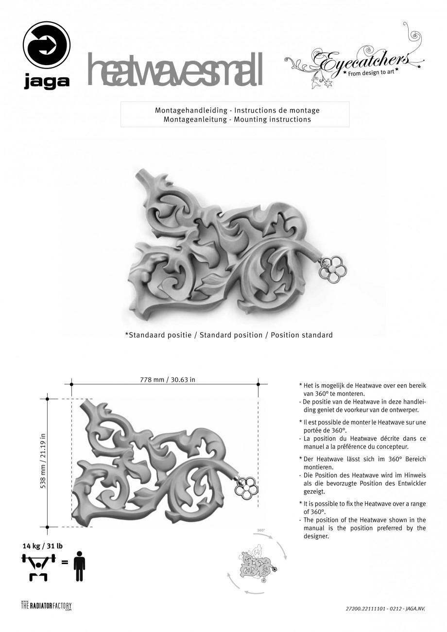 Pagina 1 - Radiatoare modulare - Small JAGA HEATWAVE Instructiuni montaj, utilizare Engleza,...