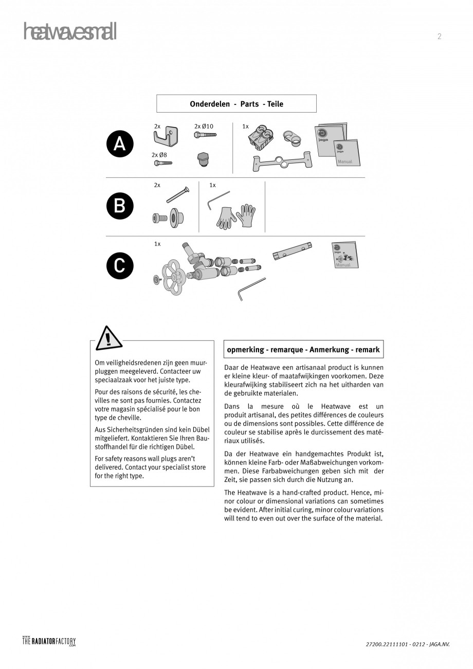 Pagina 2 - Radiatoare modulare - Small JAGA HEATWAVE Instructiuni montaj, utilizare Engleza,...