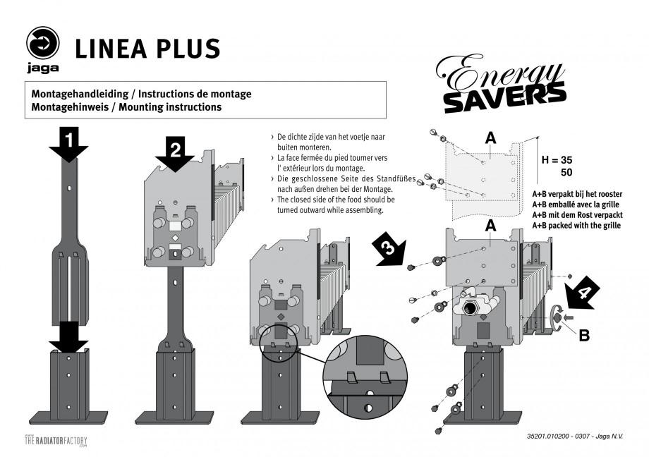 Pagina 1 - Picioruse calorifer - Montaj JAGA LINEA PLUS Instructiuni montaj, utilizare Engleza,...