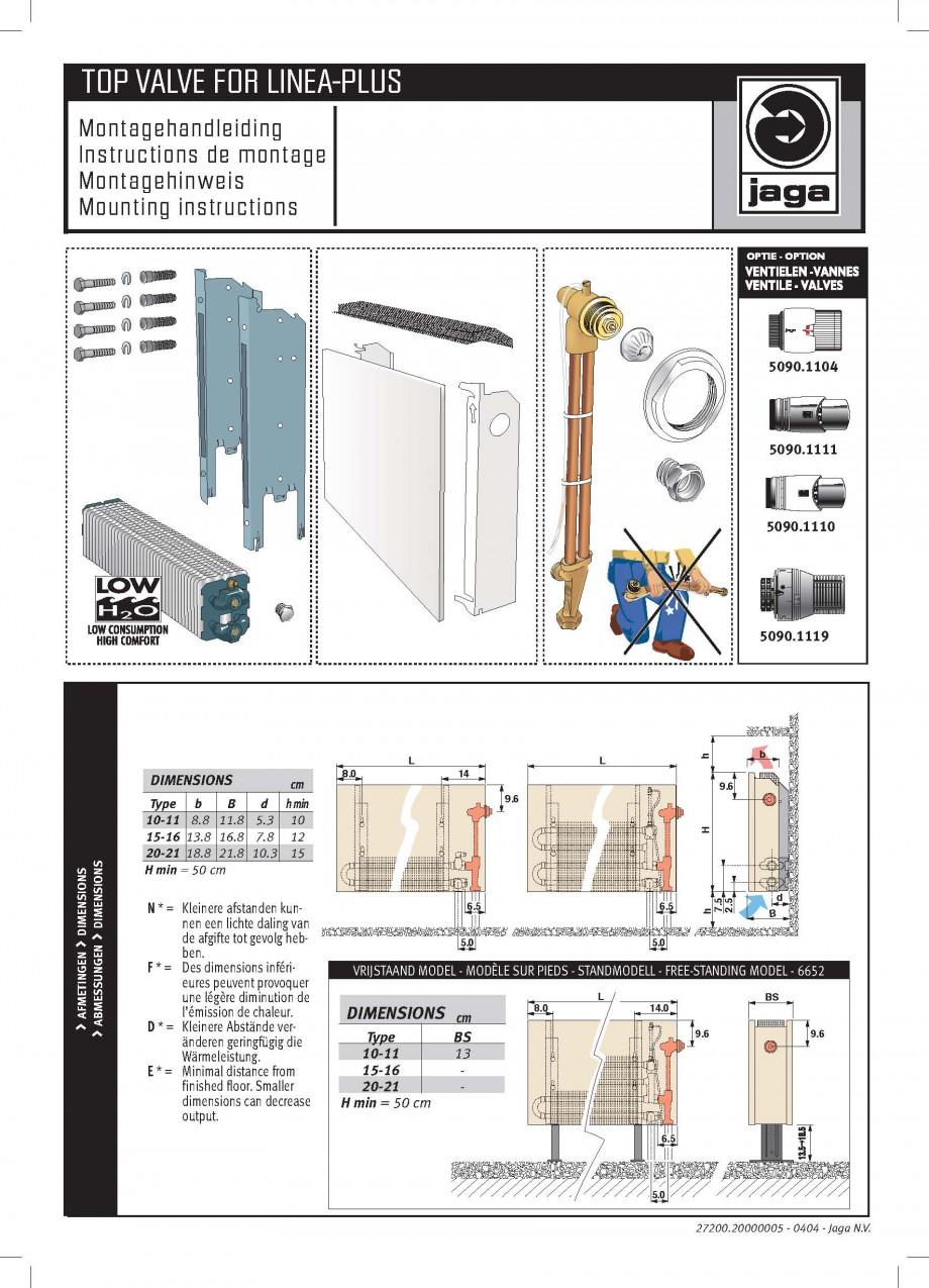 Pagina 1 - Robinet prelungit - Montaj JAGA LINEA PLUS Instructiuni montaj, utilizare Engleza,...