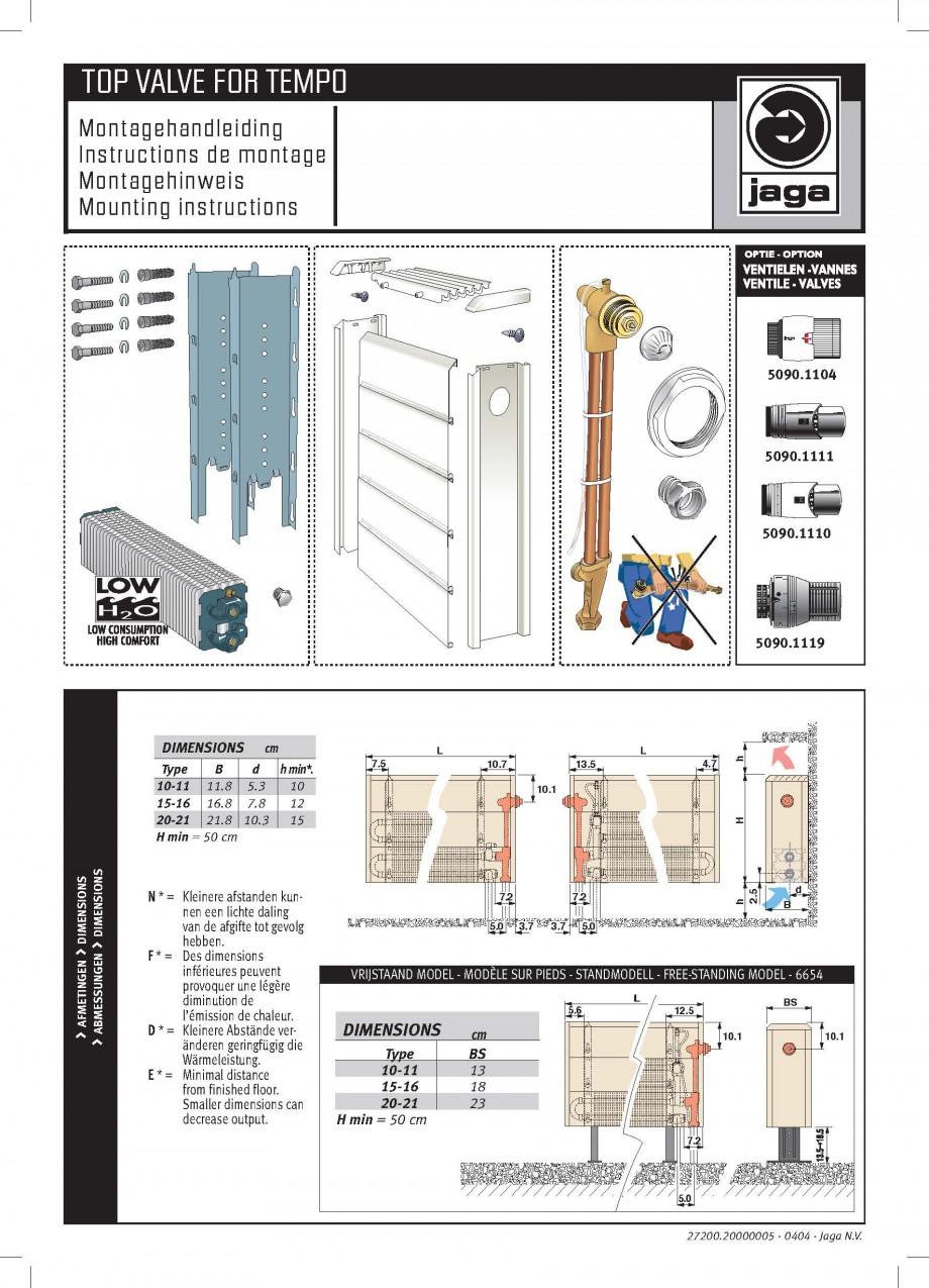 Pagina 3 - Robinet prelungit - Montaj JAGA LINEA PLUS Instructiuni montaj, utilizare Engleza,...