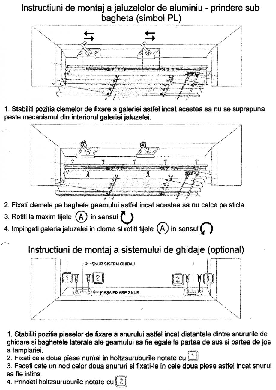 Pagina 1 - Jaluzele din aluminiu - prindere sub bagheta VIP Instructiuni montaj, utilizare Romana