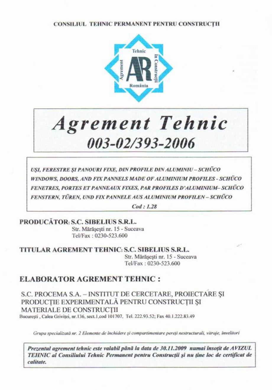 Pagina 1 - Agrement tehnic - Usi, ferestre si panouri fixe, din profile de aluminiu - SCHUCO ...