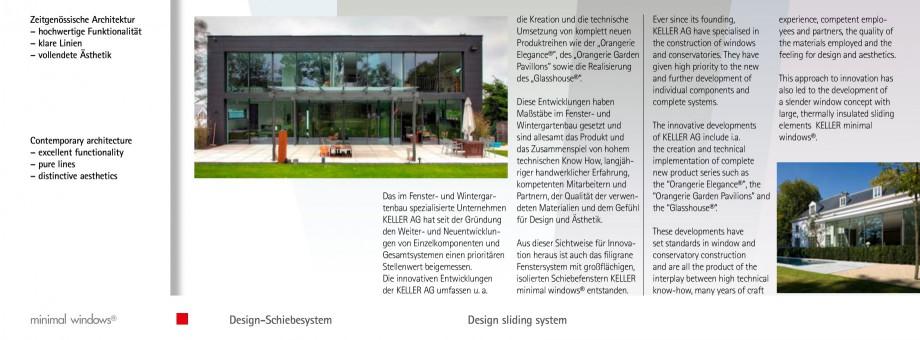 Pagina 3 - Usi si ferestre glisante din aluminiu KELLER Catalog, brosura Engleza, Germana esthetics....