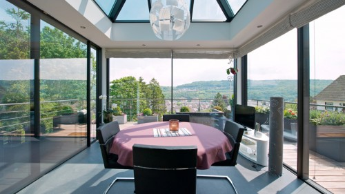 Prezentare produs Ferestre minimale - Casa sera 2 - Glasshouse® Deluxe KELLER - Poza 1