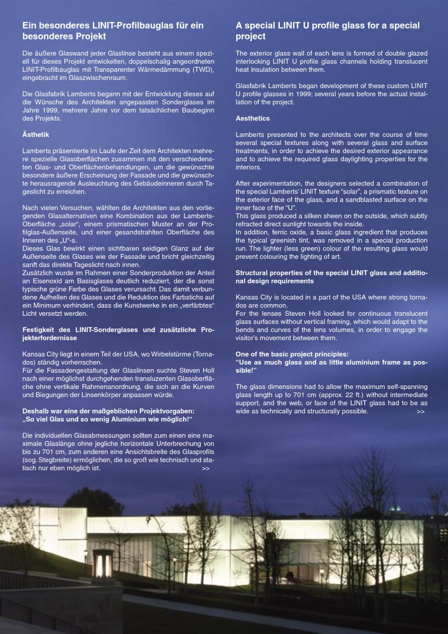 Pagina 6 - Catalog de prezentare - Sticla in forma de U LINIT LINIT U Catalog, brosura Engleza ne...