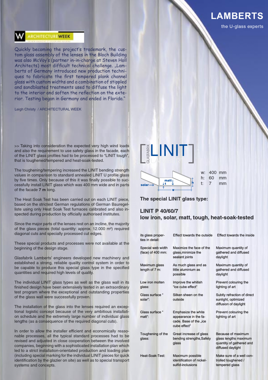 Pagina 8 - Catalog de prezentare - Sticla in forma de U LINIT LINIT U Catalog, brosura Engleza k at ...