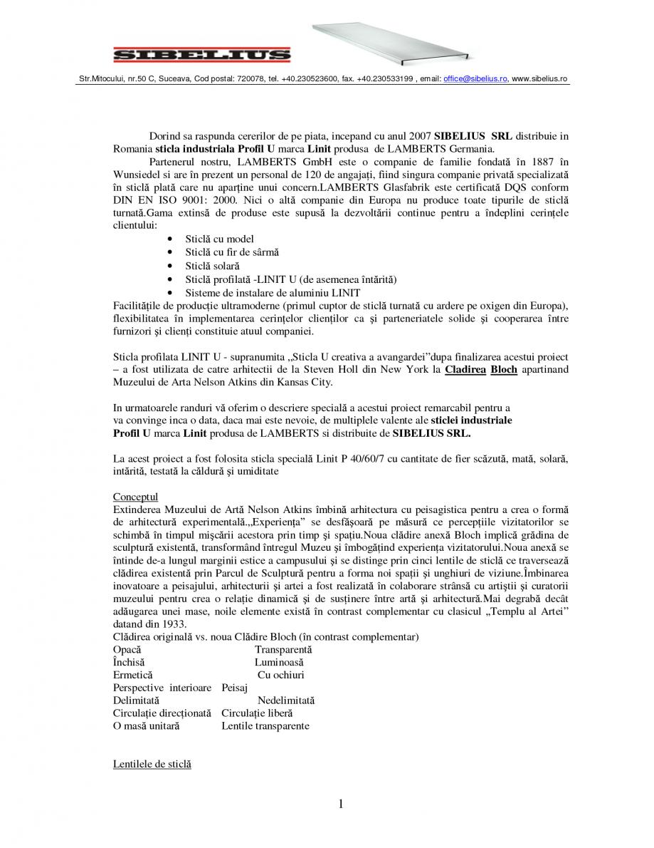 Pagina 1 - Sticla in forma de U LINIT LINIT U Catalog, brosura Romana Str.Mitocului, nr.50 C,...