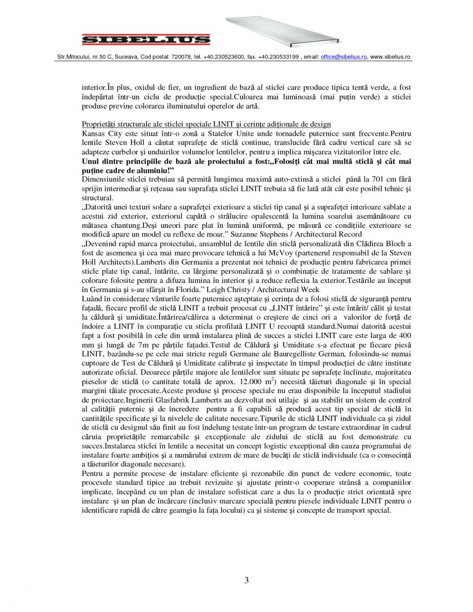 Pagina 3 - Sticla in forma de U LINIT LINIT U Catalog, brosura Romana istica pentru a crea o formă ...
