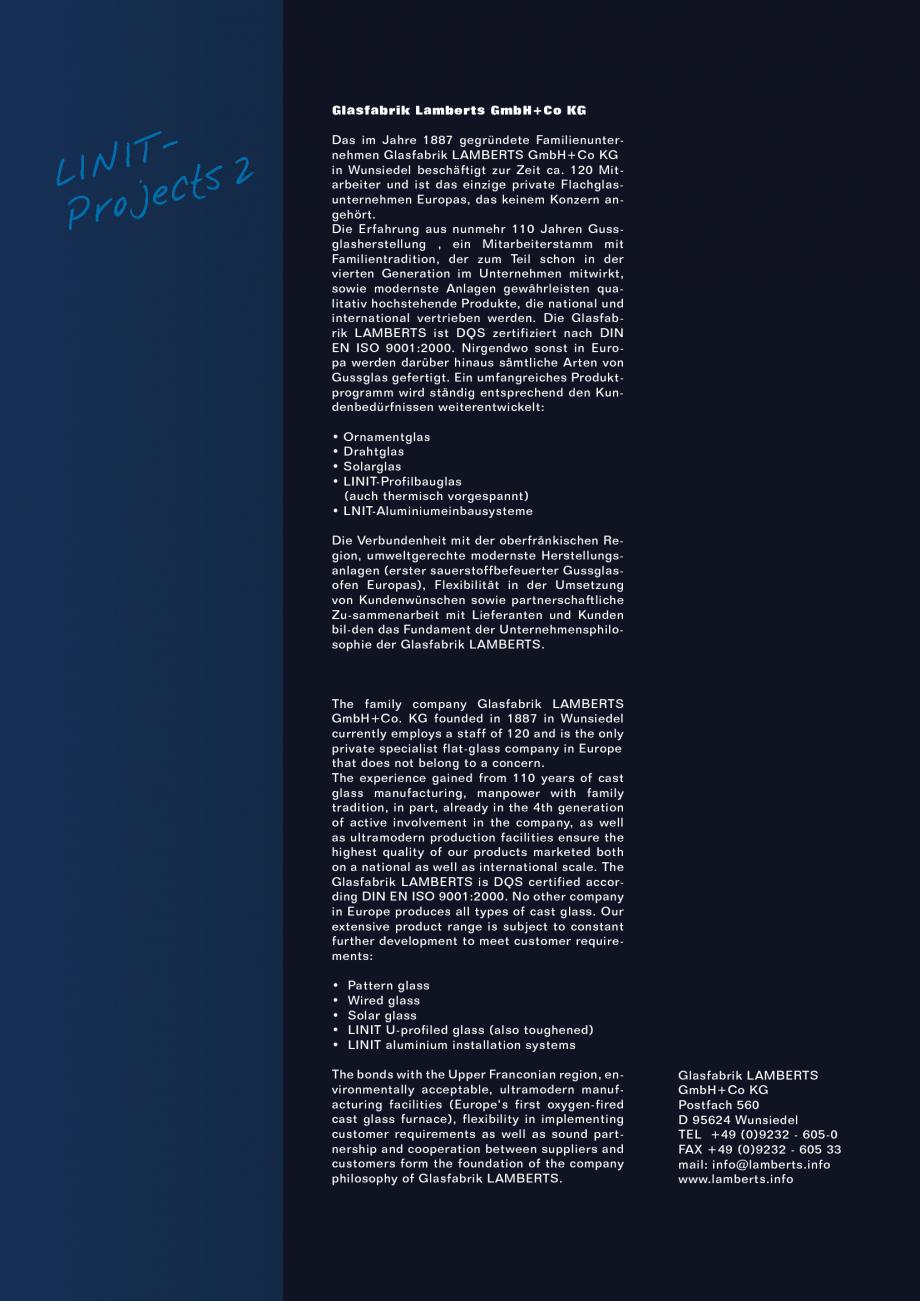 Pagina 3 - Sticla in forma de U LINIT LINIT U Lucrari, proiecte Engleza, Germana onal scale. The...