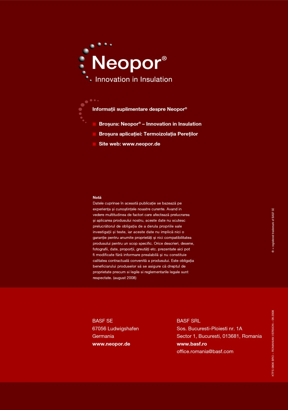 Pagina 12 - Polistiren expandat pentru termoizolarea peretilor BASF Neopor Catalog, brosura Romana...