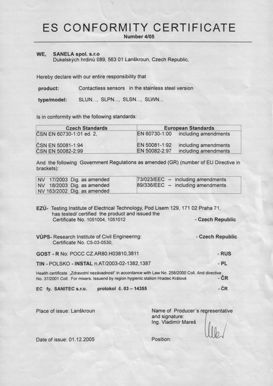 Pagina 1 - Certificat de conformitate - Otel-inox SANELA Certificare produs Romana