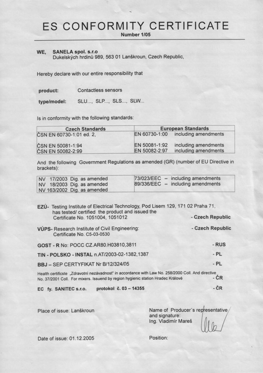 Pagina 1 - Certificat de conformitate - Senzori SANELA Certificare produs Romana
