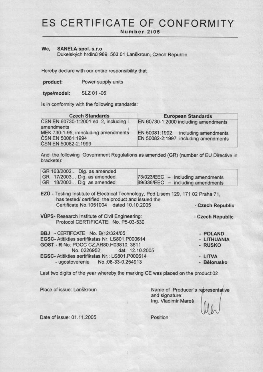 Pagina 1 - Certificat de conformitate - Transformatoare SANELA Certificare produs Romana