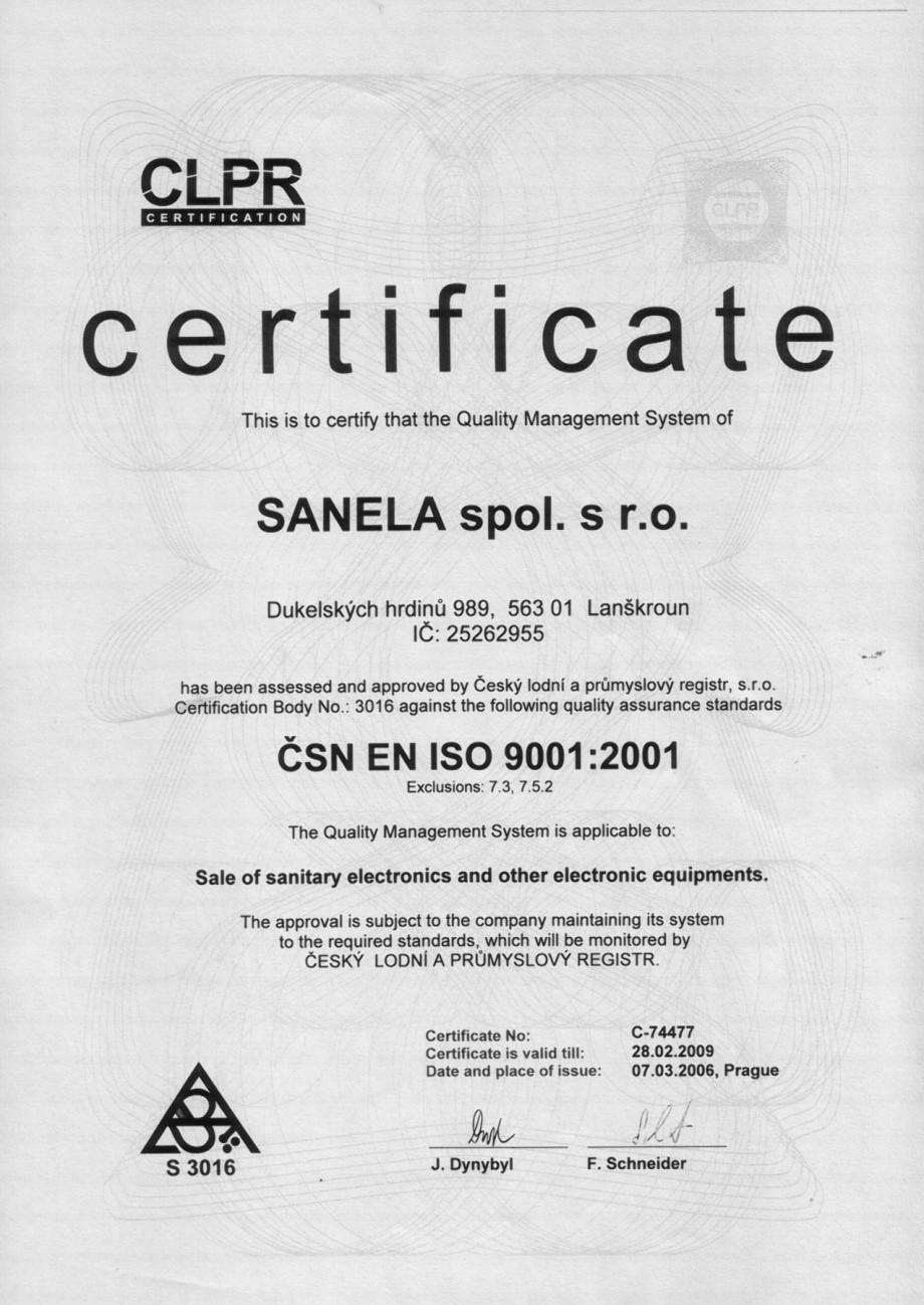 Pagina 1 - Certificat EN ISO 9001:2001 SANELA Certificare produs Romana