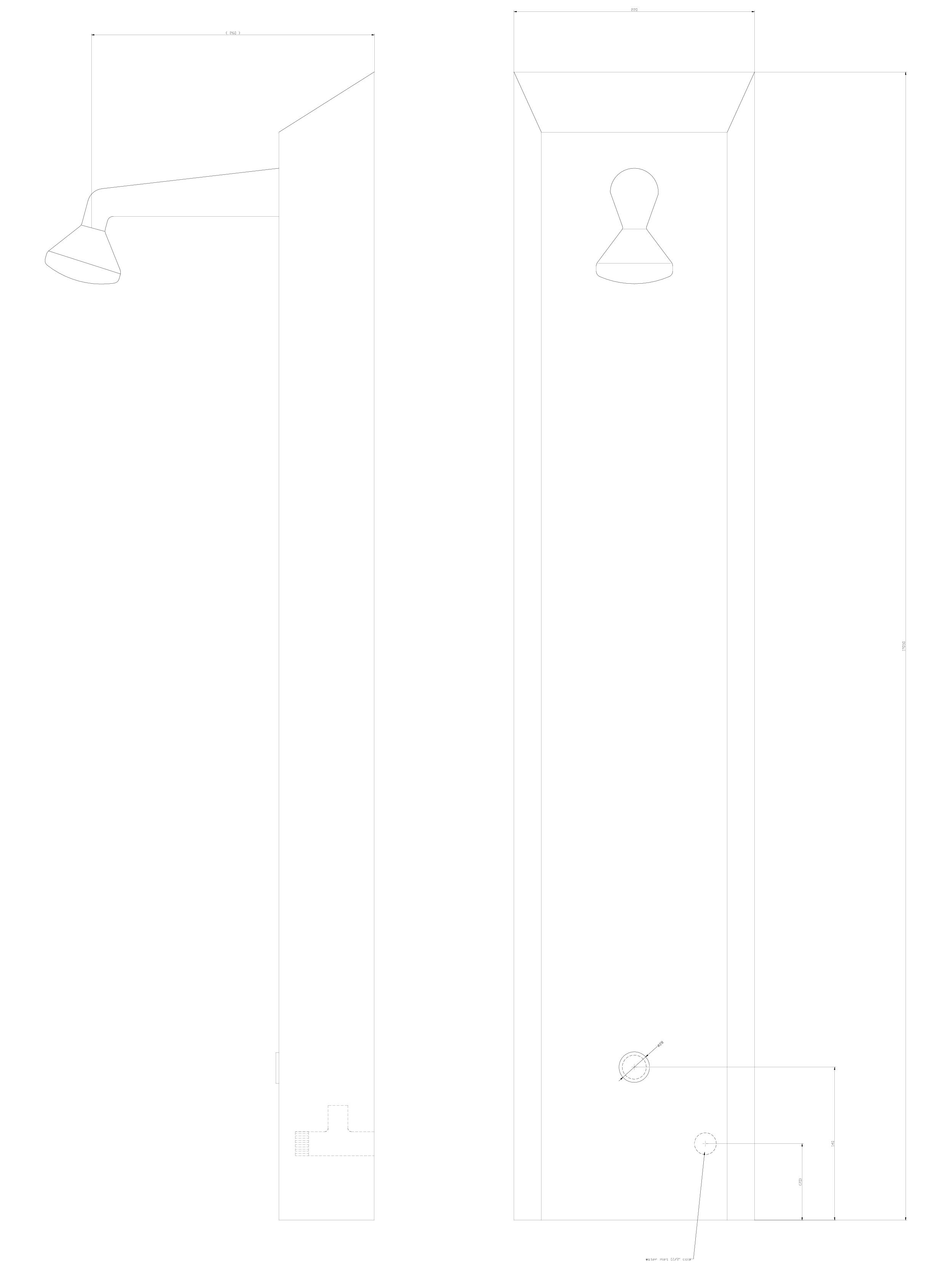 Pagina 1 - CAD-DWG Panou de dus din otel inox cu piezo-control SANELA Detaliu de produs SLSN 01P