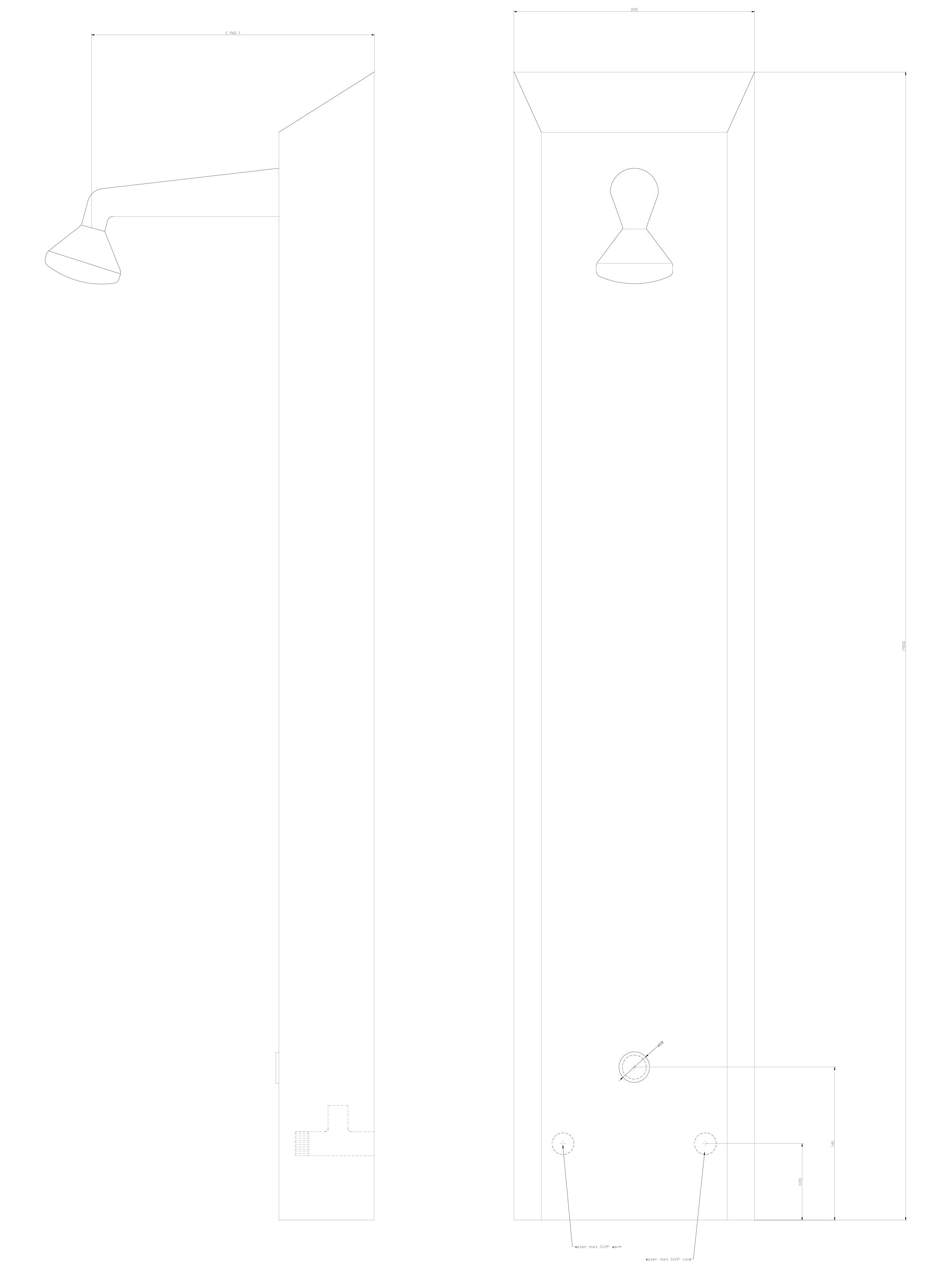 Pagina 1 - CAD-DWG Panou de dus din otel inox cu piezo-control SANELA Detaliu de produs SLSN 02P