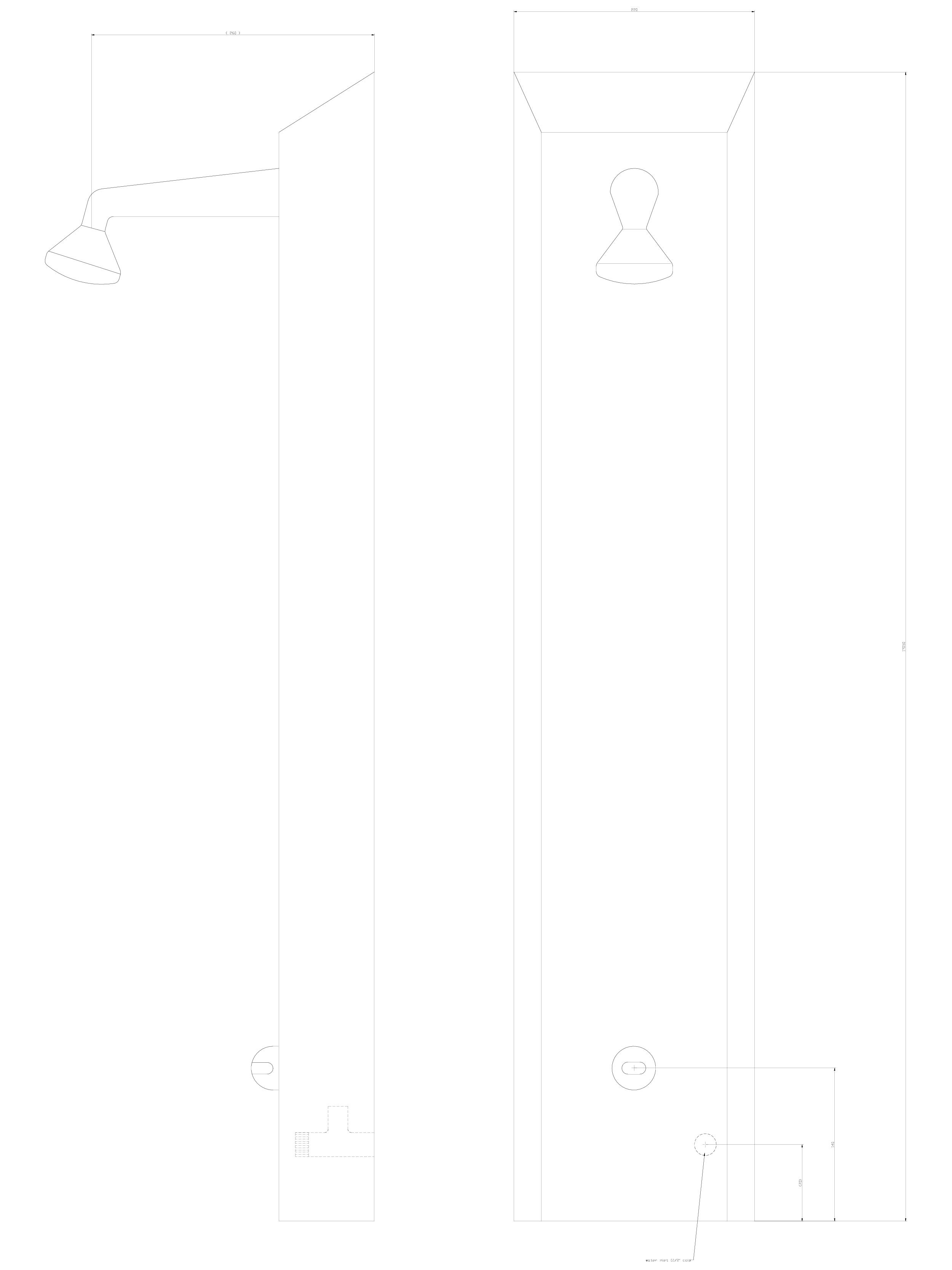 Pagina 1 - CAD-DWG Panou de dus din otel inox cu senzor infra-rosu SANELA Detaliu de produs SLSN 01E...