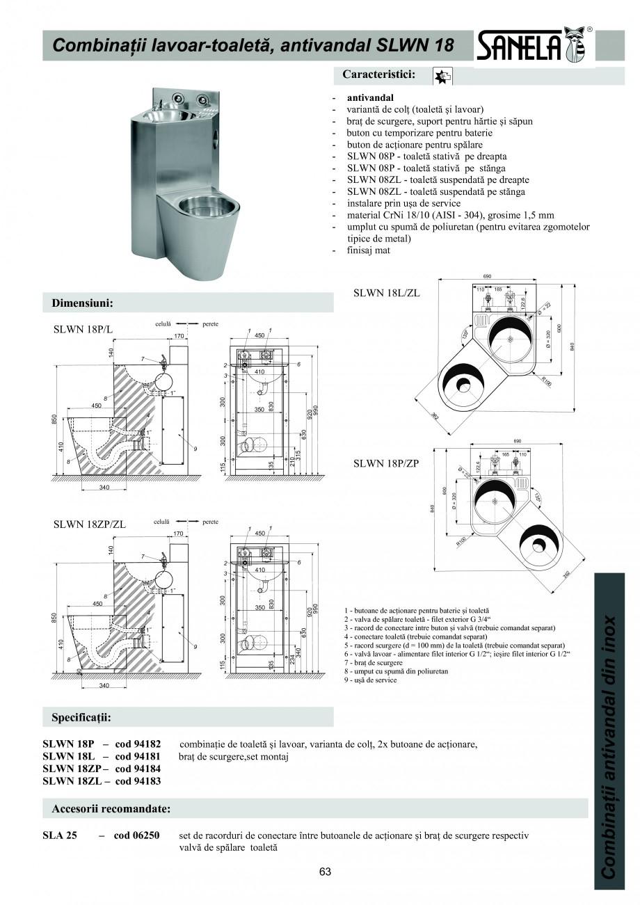Pagina 1 - Combinatie de toaleta si lavoar antivandalism din otel-inox SANELA SLWN 18P, SLWN 18L,...