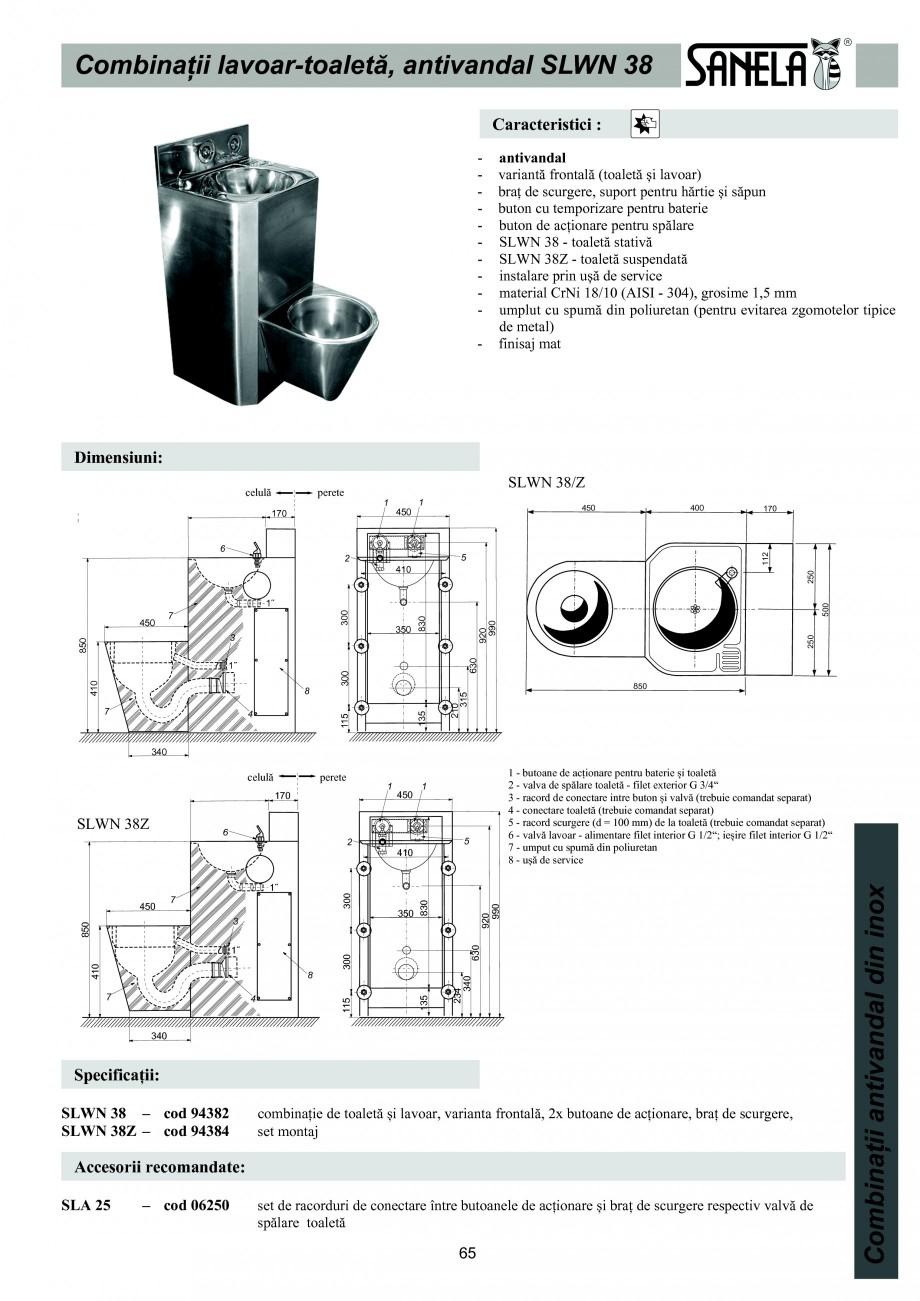 Pagina 1 - Combinatie de toaleta si lavoar antivandalism din otel-inox SANELA SLWN 38, SLWN 38Z...